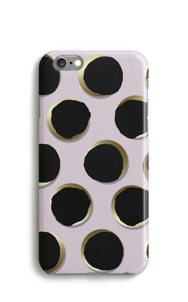 Large Polka Dots Mobile Phone Case - Pink Black by Harper & Blake