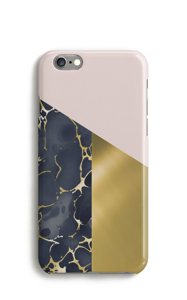 Geometric Colour Block Marble Mobile Phone Case - Pink Black Gold by Harper & Blake