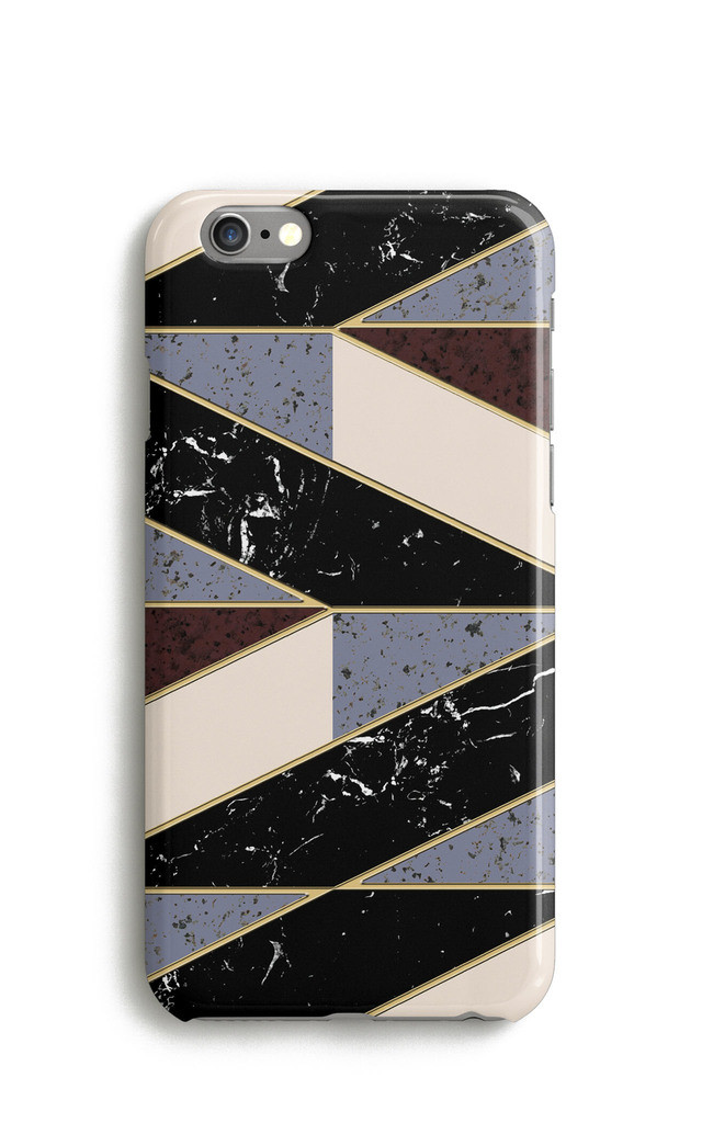 Geometric Marble Chevron Mobile Phone Case - Black Brown by Harper & Blake