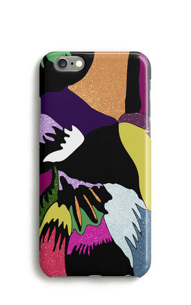 Abstract Glitter Feather Print Mobile Phone Case   Orange Purple Pink by Harper & Blake Product photo