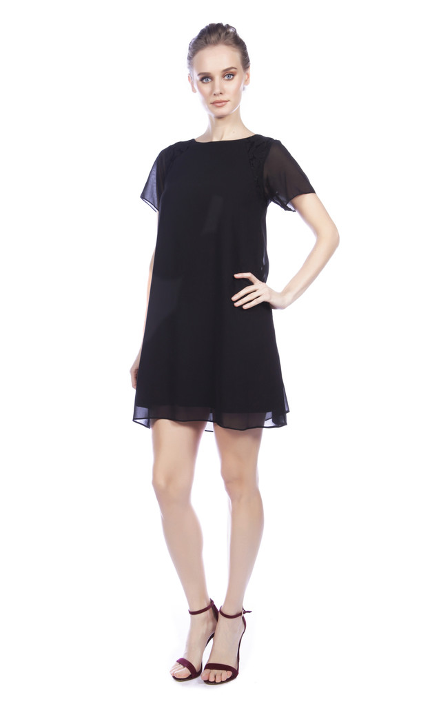 Shift Dress with Lace Panel by Cutie London