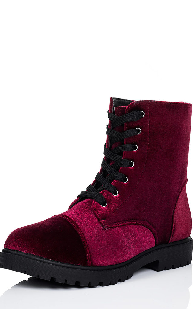 MOSH Lace Up Cleated Sole Flat Ankle Boots Shoes - Bordeaux Velvet Style by SpyLoveBuy