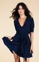 Zeina Mini Wrap Dress in Navy by Dancing Leopard