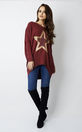 WINE METALLIC STUDDED STAR RIB JUMPER by Lilah Rose