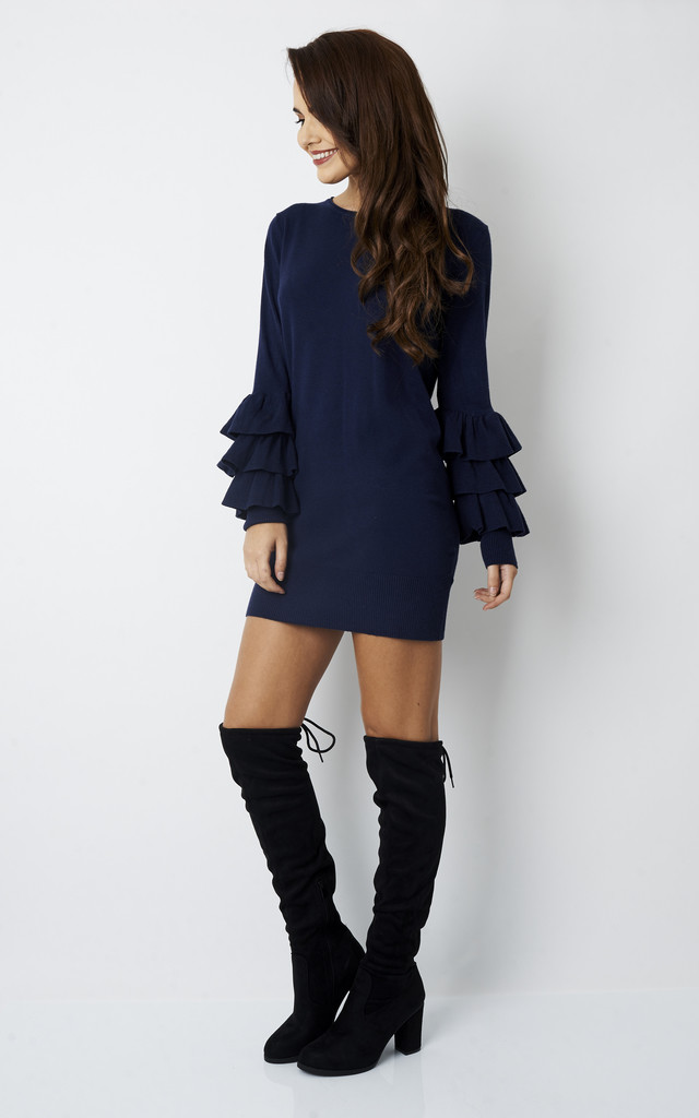 NAVY FRILL SLEEVE FITTED JUMPER DRESS by Bella and Blue