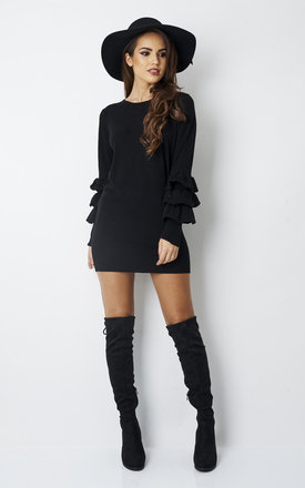 BLACK FRILL SLEEVE FITTED JUMPER DRESS by Lilah Rose
