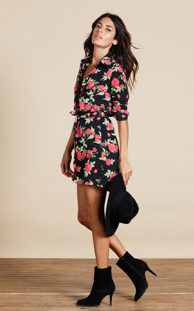 Mini Shirt Dress In Red Floret image