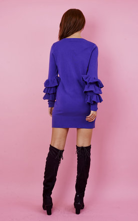 PURPLE FRILL SLEEVE FITTED JUMPER DRESS by Bella and Blue