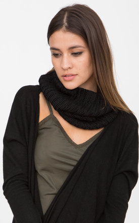 Merino Knitted Infinity Snood Scarf Black by likemary