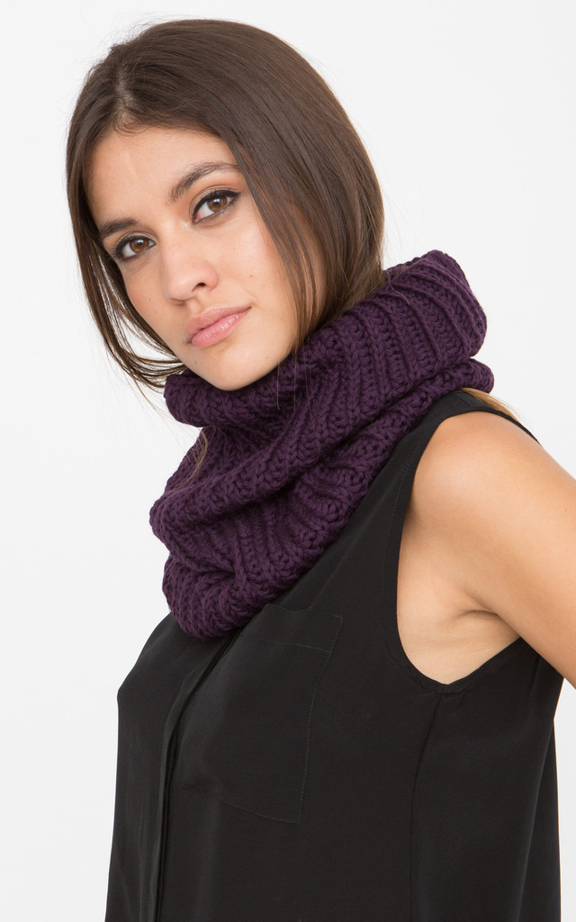 Merino Knitted Infinity Snood Scarf Purple by likemary