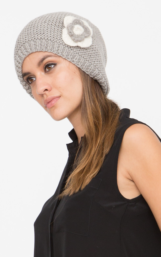 Merino Slouch Knitted Beret Beanie Grey by likemary