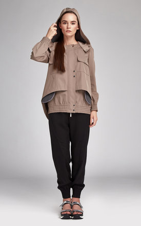 Women's parka beige short by KAMADEVA