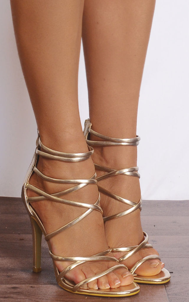 Gold Barely There Strappy Stilettos High Heels by Shoe Closet