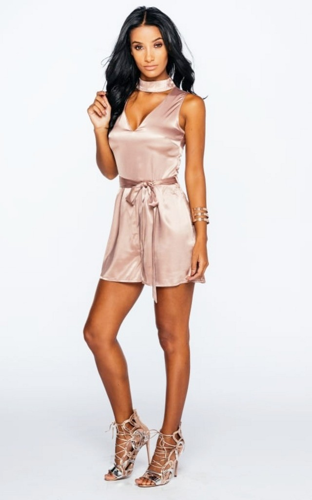 Blush Pink Silk Choker Playsuit with Belt by Girl Outlaw