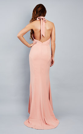 Emma Pink Nude halter neck fishtail maxi dress by Jarlo