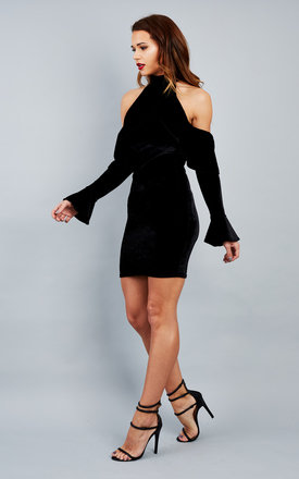 Black velvet frill dress by John Zack