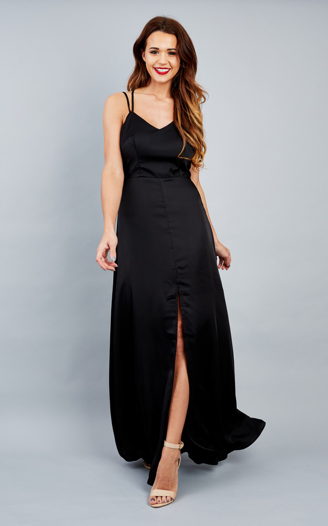 Black Long split leg maxi dress with cut out back by True Decadence