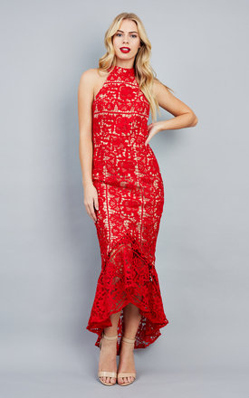 Jaq Red Lace Dress With Dipped Hem by Jarlo Product photo