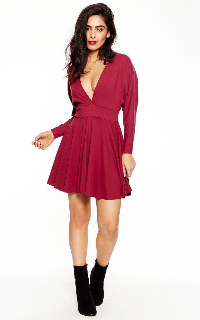 Misha Wine Long Sleeved Dress by Silver Birch