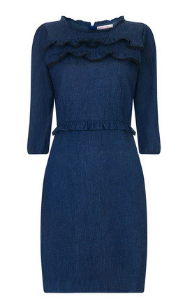Long sleeved Frilly Front Dress - Denim by Trollied Dolly