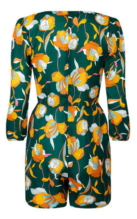 Shorty Jumpsuit - Green Retro Tulip by Trollied Dolly