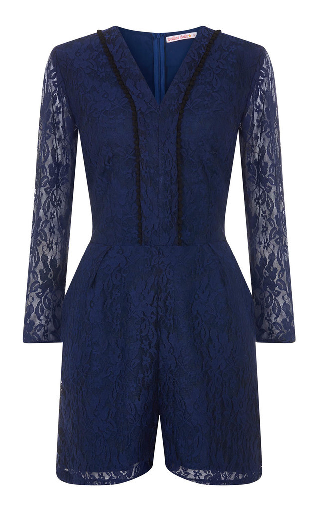 Shorty Jumpsuit - Navy Lace by Trollied Dolly