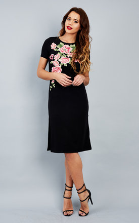 Black Front Floral Embroidered Tunic Dress by Bella and Blue