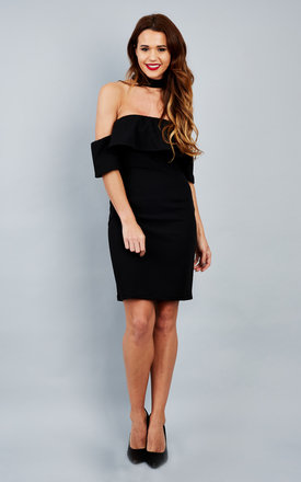 Black Choker Neck Off The Shoulder Frill Dress by Bella and Blue