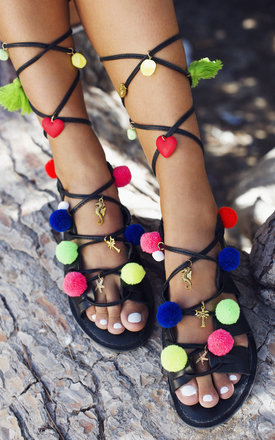 Hawaii leather pompom sandals by What Frankie Did Next