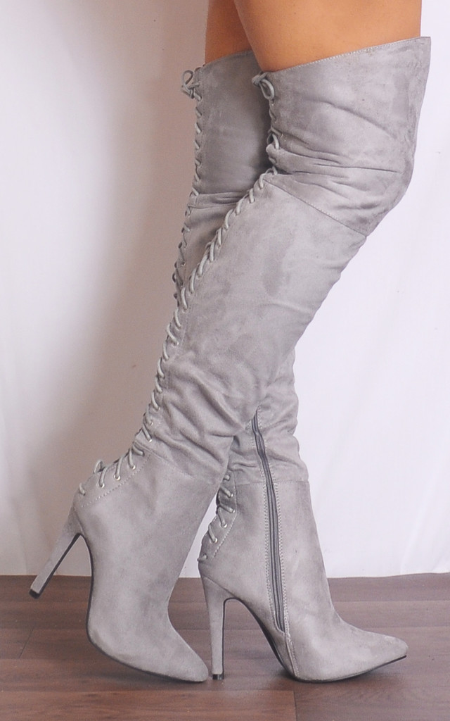 Grey Thigh High Over the Knee Lace Ups Boots Stilettos High Heels by Shoe Closet
