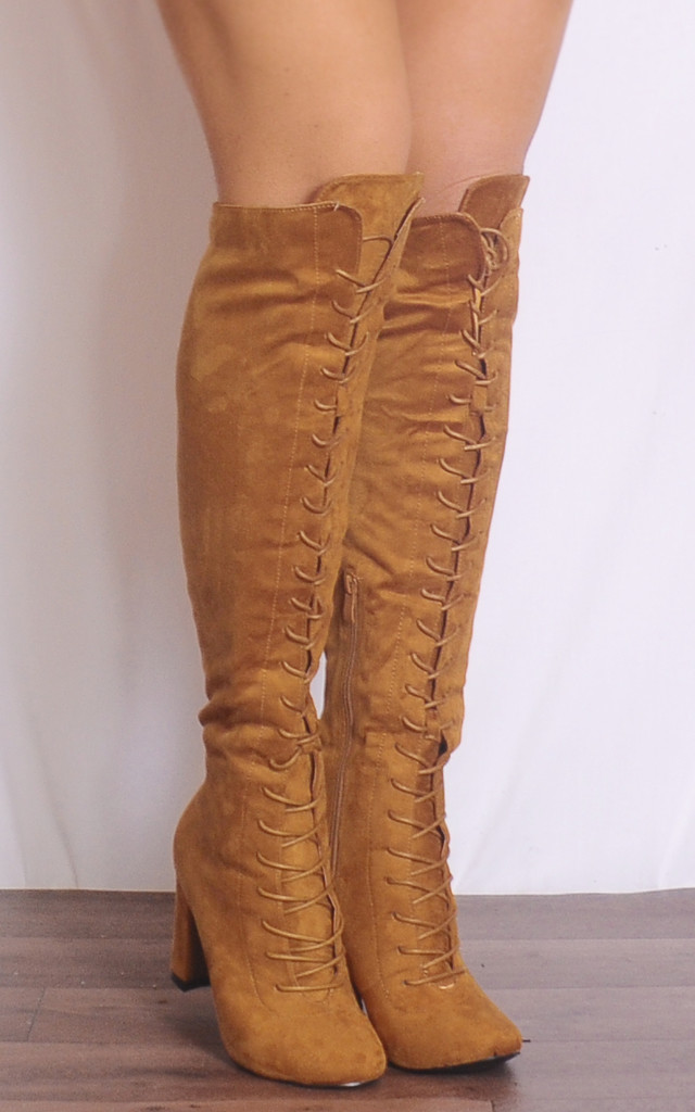 Tan Over the Knee High Lace Up Military Boots High Heels by Shoe Closet