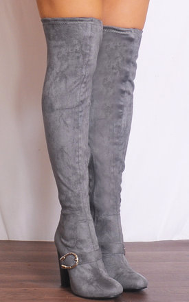 Grey Over the Knee Buckle Stretch Sock Boots High Heels by Shoe Closet
