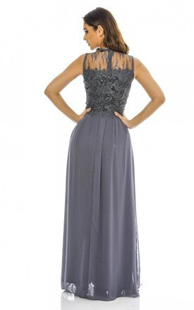 GREY 2 IN 1 SLEEVELESS LACE DETAIL MAXI DRESS by AX Paris