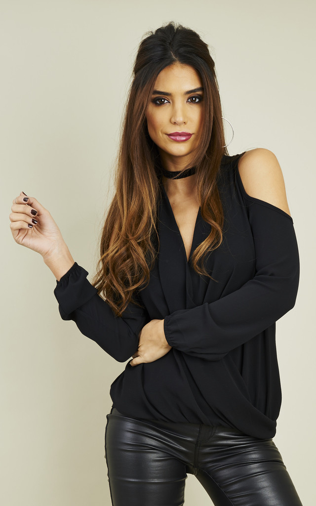 Black Crepe Cold Shoulder Long Sleeve Drape Top by Bella and Blue