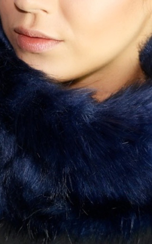 Michelle Navy Faux Fur Headband / Snood by Frankies Brand
