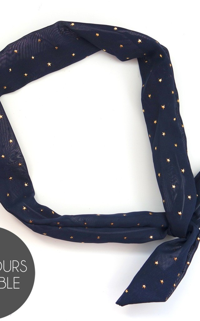 Metallic Star Print Wired Headscarf - Navy by Crown and Glory