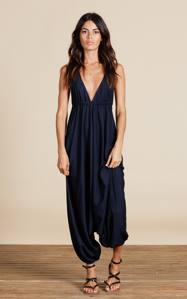 Genie Jumpsuit in Navy Blue by Dancing Leopard