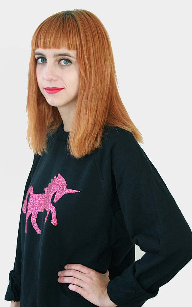 Oversized Pink Glitter Unicorn Sweater by Tallulah's Threads