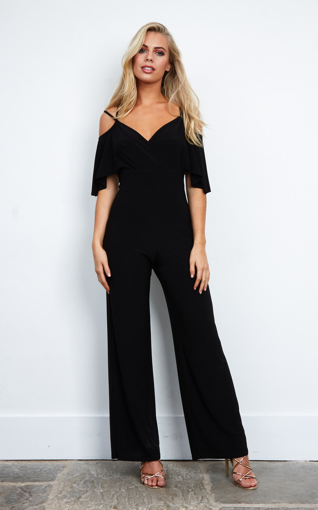Cold Shoulder Double Strap Jumpsuit In Black by Love