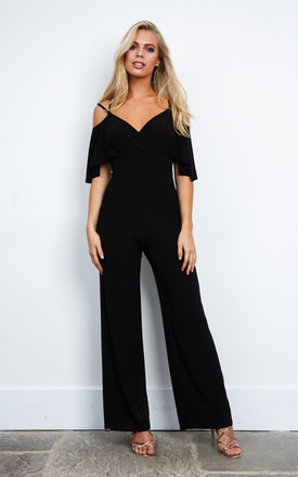Cold Shoulder Double Strap Jumpsuit In Black by Love Product photo