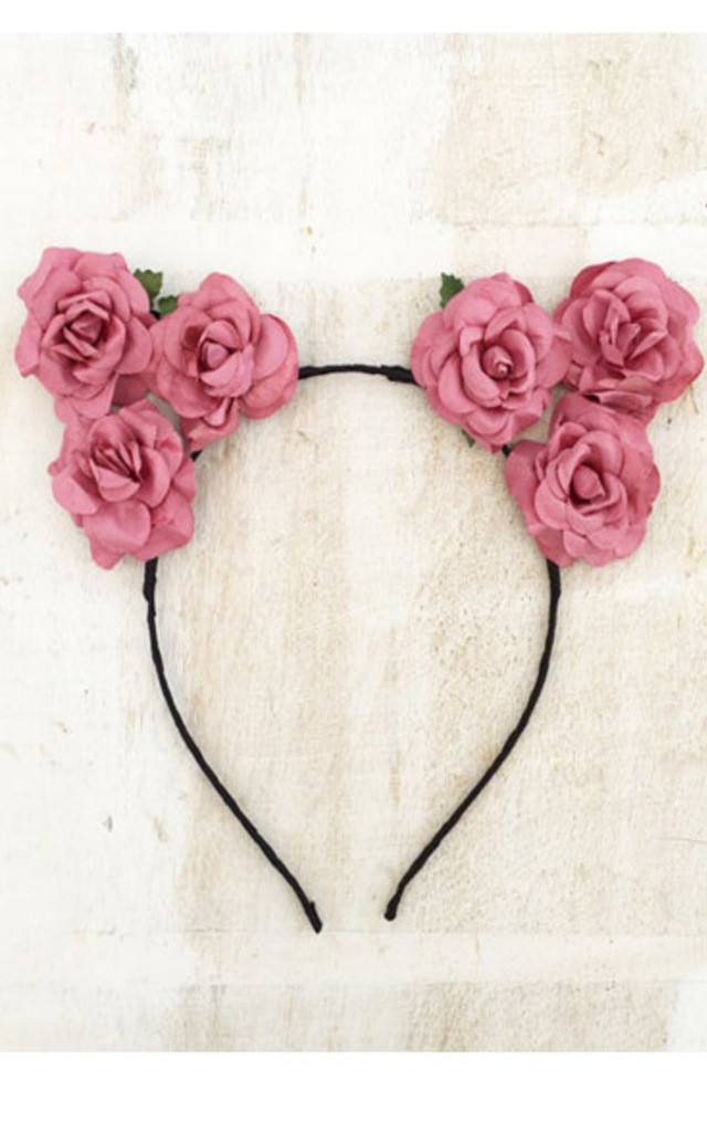 COCO Vintage Pink Flower Cat Ear Headband by LULU IN THE SKY
