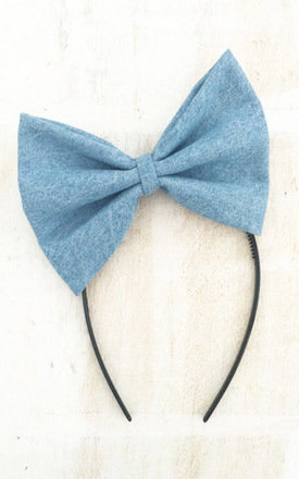 Oversized Bleached Out Denim Bow Headband by LULU IN THE SKY