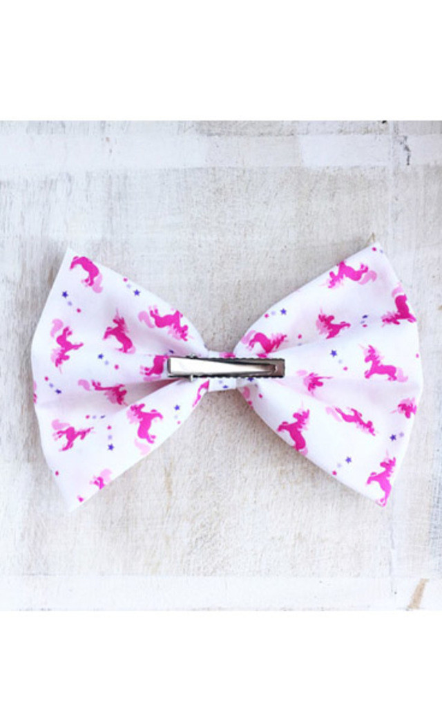 White Pink Unicorn Oversized Hair Bow by LULU IN THE SKY