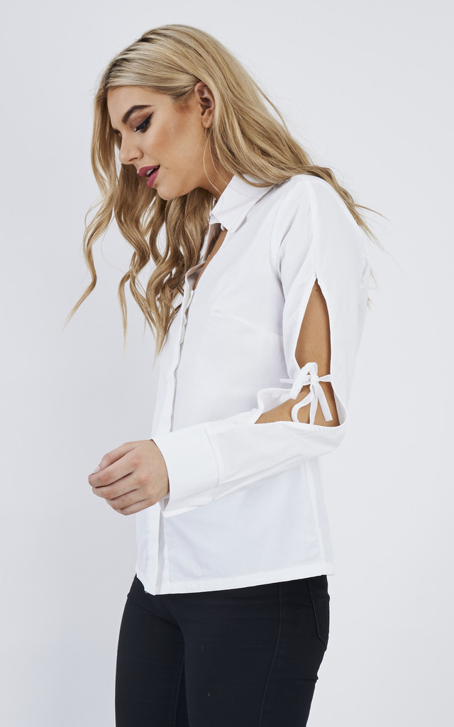 Cut-Out White Ribbon Top by Fay Shafai