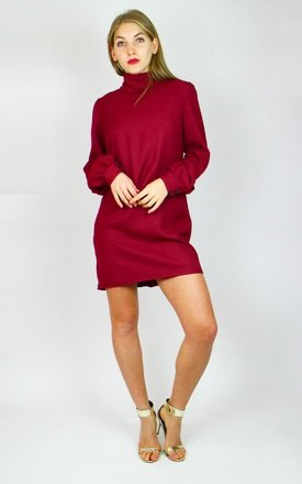 High Neck Mini Shift Dress with Button Back Detail by Re:dream Clothing