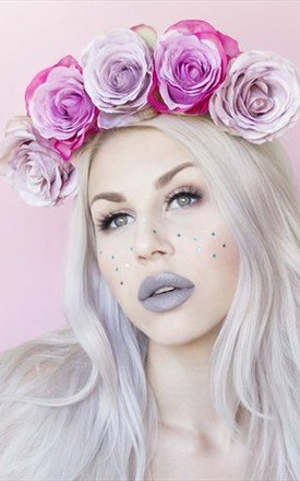 BARDOT Pink And Lilac Lux Rose Flower Crown by LULU IN THE SKY