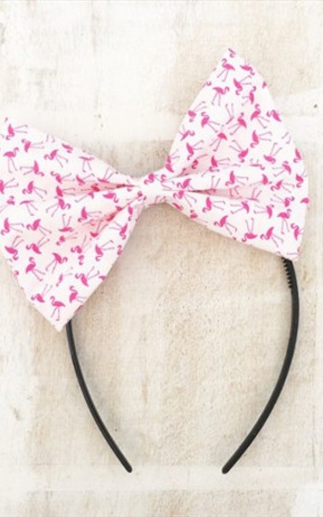White With Pink Flamingo Oversized Bow Headband by LULU IN THE SKY
