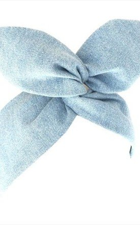 Bleached Out Denim Dolly Bow Wire Headband by LULU IN THE SKY