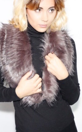 Bobbie Silver fox faux fur scarf / collar by Frankies Brand