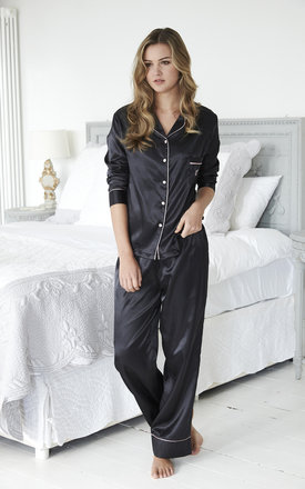 Satin Black Loungewear Pyjama Set by A Gift From The Gods